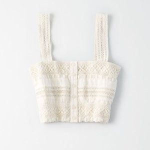 American Eagle Outfitters White Eyelet Crop Top